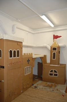 our card board castle... in our garage great play space
