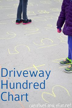 Driveway Hundred Chart plus 5 games to play with it. Makes learning math so much fun! Math Activities For Kids, Preschool Math, Math For Kids, Fun Math, Toddler Preschool, Math Games, Maths, Homeschool Kindergarten, Summer Activities