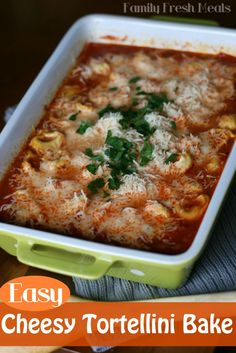 Easy Cheesy Tortellini Pasta Bake - 2 minute prep for this recipe! I can't believe how easy and YUMMY this was!