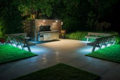 Complete with custom-made hardwood seating and an outdoor kitchen range this is an ideal space for cocktail parties and long summer BBQs. Cocktail Parties, Hardwood, Gardens, Range, Patio, Landscape, Space, Outdoor Decor, Kitchen