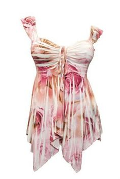 Amazon.com: Plus size Deep V-neck Asymmetric Slimming Top Pink Floral Print: Clothing from Amazon