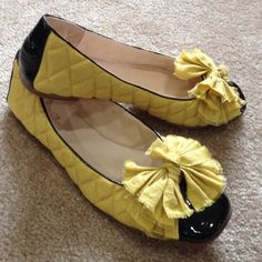 Anthropologie - All Black Ballet flats New condition. Gold quilted ballet flat with black patent cap toe. Box not available. No trades. No PayPal. Price firm unless bundled. Anthropologie Shoes Flats & Loafers