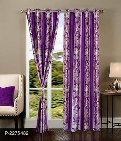 Purple Set of 2 Beautiful Door Curtains 7 Feet Curtains Living, Door Curtains, Sheer Curtains, Classic Doors, Curtain Material, Printed Curtains, Curtain Sets, Best Budget, Bed Sheets