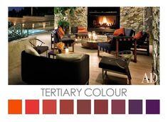 A subtle Colour Palette inspired by Tertiary Colour - orange through to purple.  Design Colour Palettes  © Zena O'Connor