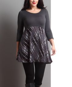 Look at this #zulilyfind! Charcoal Diamond Plaid Empire-Waist Tunic - Plus #zulilyfinds