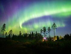 Northern Lights in Vuolijoki Fox Running, Finland, Aurora, Northern Lights, Trail, Fire, Sky, Instagram, Heaven