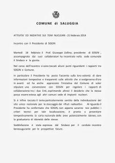 QUI - SALUGGIA: TELEGRAMMA DAL MUNICIPIO: INCONTRO CON SOGIN