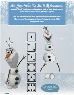 Do you want to build a snowman dice game.