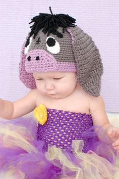 Donkey Hat Crochet Pattern for Making a Crochet Little Donkey Hat for Baby and Children Photo Prop PDF by jspirik on Etsy