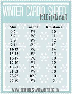 Winter Cardio Shred Elliptical Workout  via @FoodFitandFam