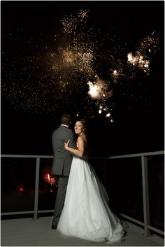 Outdoor wedding fireworks at Shining Waters Marine!