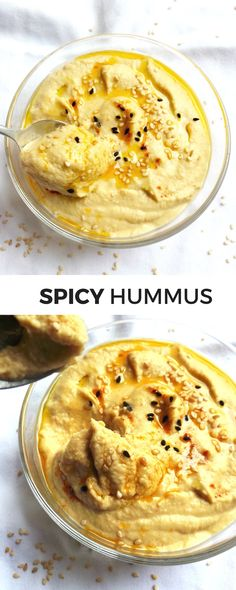 The Best Hummus Recipe: Spicy, Easy & Healthy + Hummus Wrap - Beauty Bites - If you want to eat something delicious and healthy and have 5 minutes, some chickpeas, tahini and a - Spicy Hummus Recipe Without Tahini, Spicy Falafel Recipe, Healthy Hummus Recipe, Spicy Recipes, Easy Healthy Recipes, Healthy Dishes, Vegan Dishes, Dip Recipes, Delicious Recipes