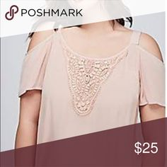 edc34ad676e Lane Bryant NWOT Cold shoulder crochet 26 28 New without tags Shell pink  Swing top
