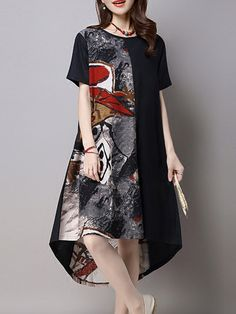 AdoreWe  JustFashionNow Casual Dresses❤️Designer VVIC Black High Low  Printed Abstract Casual Dress 105cb2ee91c