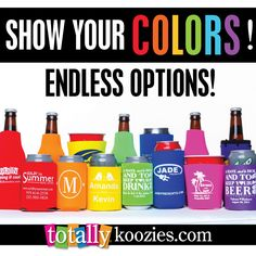 Endless options at www.totallykoozies.com! Show your colors with a style & color of ‪#‎koozie®‬ that suits you!  KOOZIE® is a registered trademark of Norwood Promotional Products. Koozie® products are available for purchase at TotallyKoozies.com