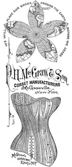Marvelous font on the company's name. #corsets #ad #1880s #1800s #Victorian #fonts