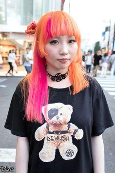 Pomarańczowy i różowy do włosów w Harajuku