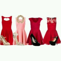Pink and red dress outfits
