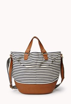 Americana Railroad Tote | FOREVER21 Tote-ally cute bag! #Stripes #Nautical #FauxLeather