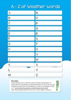 Useful weather worksheet helping pupils build up an A-Z of weather words.