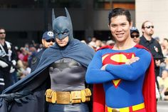 Batman and Superman - that Batman cosplay is kickin' my ass, it's perfect