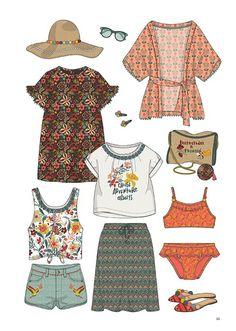 Minicool kids - trend forecast spring/summer 2019 children r Fashion Design Drawings, Fashion Sketches, Young Fashion, Kids Fashion, Fashion Fashion, Silhouette Mode, Beach Wear, Cute Outfits, Vintage Fashion