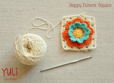 "Another ""Happy Flower"" Granny Square: Free Crochet Pattern & Tutorial, from Yuli Handmade."