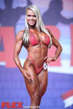 the competition shape of blonde Brazilian muscle babe, IFBB Figure Competitor…