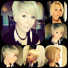 haircut on long hair blonde to short pixie haircut