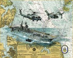 USS Kearsarge LHD-3 Wasp-class Amphibious Assault Ship Print on Nautical Chart by Adam Koltz