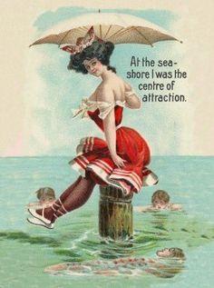 On the beach Summer 1892 Images Vintage, Bathing Beauties, Vintage Greeting Cards, Art Store, Summer Beach, Bathing Suits, Ocean, Artist, Postcards