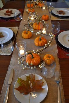 A simple, festive Thanksgiving table decoration …. A simple, festive Thanksgiving table decoration … A simple, festive Thanksgiving table decoration …. A simple, festive Thanksgiving table decoration … Easy Thanksgiving Dinner, Thanksgiving Table Settings, Thanksgiving Centerpieces, Fall Table Settings, Hosting Thanksgiving, Thanksgiving Crafts, Harvest Table Decorations, Decorating For Thanksgiving, Fall Table Decor Diy