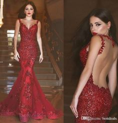 Red Sexy Lace Mermaid Evening Dresses 2016 New Arabic Illusion Crew Neck See Through Back Sequins Lace Applique Prom Dresses Evening Gowns Online with $170.14/Piece on Bestdeals's Store | DHgate.com
