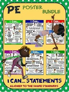 PE Poster Bundle: I Can Statements...- 6  Posters Aligned to the SHAPE Standards