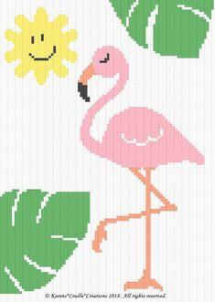That I created. This graph pattern will make a beautiful heirloom afghan done in single crochet, the afghan or Tunisian crochet stitch, knit, or counted cross stitch onto the background. Crochet Flamingo, Flamingo Pattern, Tunisian Crochet Stitches, Crochet Stitches Patterns, Knitting Stitches, Embroidery Patterns, Cross Stitch Pattern Maker, Cross Stitch Patterns, Cross Stitching