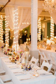 LOVE the long white tables with clusters of eclectic decor & candles. Get a closer look on #SMP here:  http://www.StyleMePretty.com/2014/05/02/modern-indian-inspired-wedding -- Photography: MademoiselleFiona.com -- Planning & Design: Firefly-Events.com