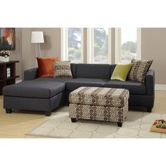 This 2-piece sectional features a reversible chaise, a 2-seat sofa, and four matching pillows with solid and floral patterns.