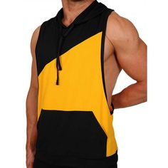 Pistol Pete Flex Hoody T-Shirt - gelb/schwarz - Nr. Pistol Pete, Gym Wear, Workout Wear, Yellow Black, Fitness Fashion, Athletic Tank Tops, Hoody, Casual, T Shirt