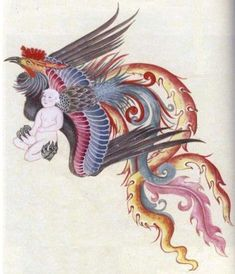 The Simurgh: A Symbol of Holistic Medicine in the Middle Eastern Culture in History - Muslim Heritage Mythical Flying Creatures, Mythical Birds, Weird Creatures, Ancient Persian, Iranian Art, Galo, Turkish Art, Painting Lessons, Japan Art