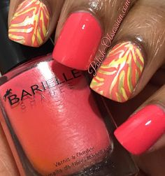 nails.quenalbertini: Coral and Yellow | Polish Obsession