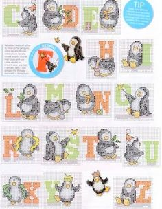 Super cute cross stitch penguins with letters