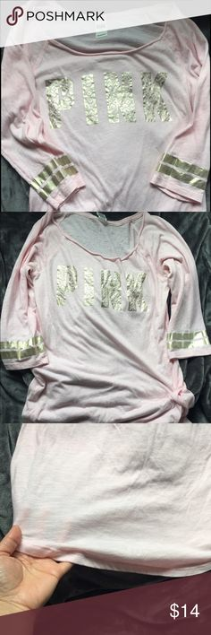 • PINK sleep shirt • Night gown, so cozy & oversized! Pilling a bit, but logo & stripes still in tact. It is see through. Offers encouraged  PINK Victoria's Secret Intimates & Sleepwear Pajamas