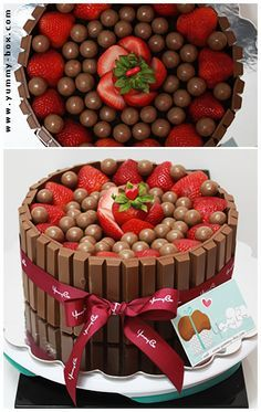 Kit Kat Cake with strawberries and either Bon bons or malted milk balls - looks more sophisticated than it is