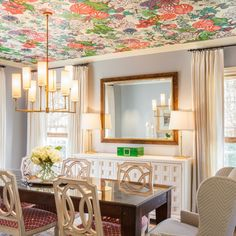 Adding wallpaper to the ceiling adds another dimension to your space. Unexpected .