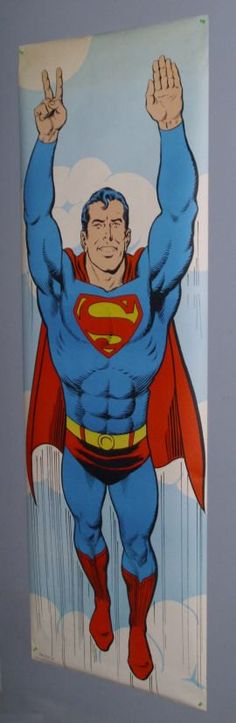 "Huge 1971 6 foot Superman 72 x 24 door poster 1: 1970's rare vintage original DC Action Comics Man of Steel Superman poster of ""Peace Sign"". SEE 1000's MORE RARE VINTAGE MARVEL AND DC COMICS SUPERHERO POSTERS AND COMIC BOOK ART PAGES FOR SALE AT SUPERVATOR.COM"