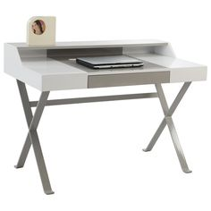 Christopher Knight Home White/ Grey Modern Computer Desk With Drawer - Overstock™ Shopping - Great Deals on Christopher Knight Home Desks