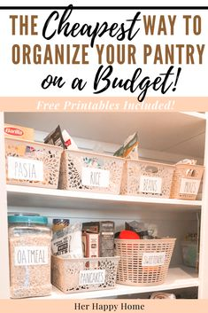 Get your pantry under control with these EASY pantry organization tips using dollar store/Dollar Tree items! Free printable, Rae Dunn-inspired pantry labels are included for that farmhouse feel! Kitchen Organization Pantry, Kitchen Pantry, Pantry Ideas, Refrigerator Organization, Diy Hacks, Cleaning Hacks, Pantry Baskets, Dollar Tree Organization, Organization Ideas