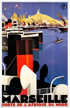 "Vintage Travel Art - ""Marseille"" by Roger Broders"