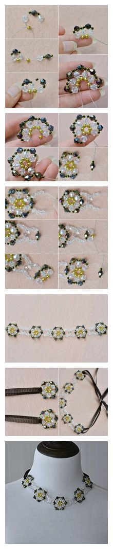 Tutorial for charming flower beaded necklace from LC.Pandahall.com