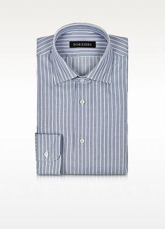 Forzieri White and Blue Striped Non Iron Cotton Slim Fit Men's Shirt